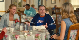 (L to R) Amy (AMY SCHUMER) has a meal with father Gordon (COLIN QUINN) and sister Kim (BRIE LARSON) in ?Trainwreck?, the new comedy from director/producer Judd Apatow that is written by and stars Schumer as a woman who lives her life without apologies, even when maybe she should apologize.